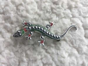 GERMANY-STAMPED-MARCASITE-SILVER-TONE-REPTILE-LIZARD-BROOCH-PIN-VTG-ART-DECO
