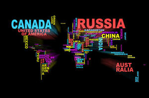 image is loading framed print world map with words as the