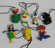 #HJ16~ LOT OF 7 Super Mario Brothers Cell Phone Charm Keychain MINI FIGURE