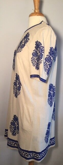 Isabel Marant SZ  4 36 36 36 DARYL Embroidered bluee &  Ivory Raw Silk Dress 03eae3