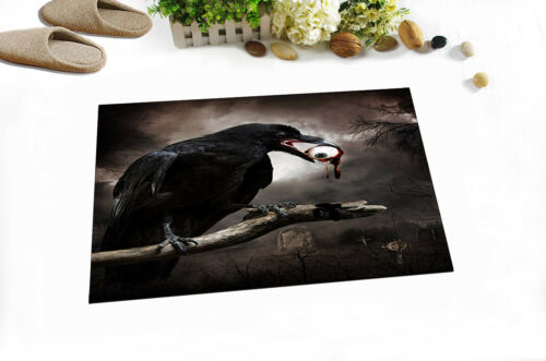 Polyester Waterproof Fabric Halloween Cemetery Crow Eye Ball Shower Curtain Set