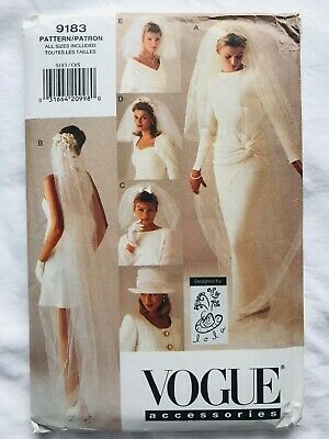 Vogue Accessories Pattern 9183 Bridalwedding Veil And Hat Long Short Blusher Bow Modieuze Patronen