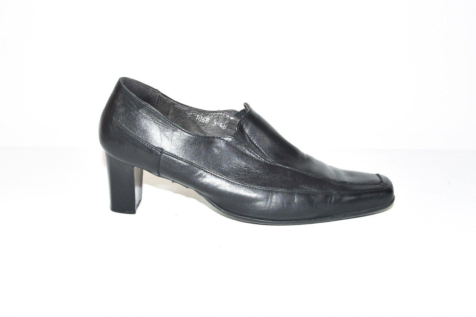 Black Real Leather BLUE Slip Women's On Mid Heel Court Women's Slip Shoes Heels Size 7/40 18569d