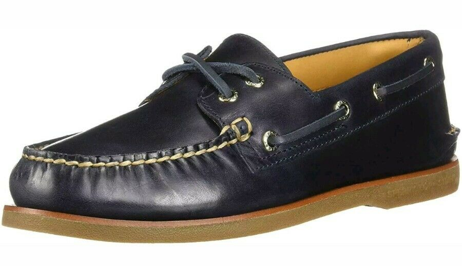 NEW Men's 10.5  Sperry Top-Sider gold A O 2-Eye Orleans Boat shoes, STS18348 Navy