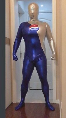 Blue and Silver Shiny Metallic Pepsi Man Cosplay Costume Zentai Halloween Suit