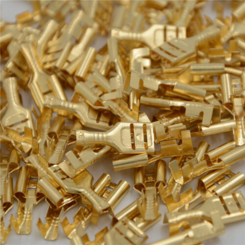 100 Pcs 4.8mm Gold Brass Car Speaker Female Spade Terminal Wire Connector GN