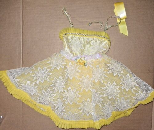 NWT GIRLS Yellow LACY BALLET DANCE TAP COSTUME RUFFLED BODICE costume Francesca