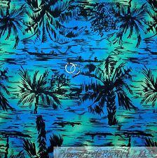 BonEful Fabric FQ Cotton Quilt Blue Black Green Palm Tree Tropical Island Boat L