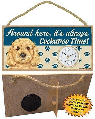 Cockapoo Clock-around Here It's Always--time-hang Or Easel Back Mooi Van Kleur