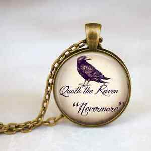 The-Raven-034-Nevermore-034-Quote-Image-Necklace-Bronze-Edgar-Allan-Poe-World-Book-Day