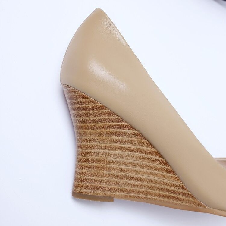 Wouomo New New New Wedge High Heel Slip On Leather OL Pumps Pointed Toe scarpe 8 2d58af