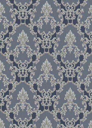 Vinyltapete Ornament Textil dunkelgrau blau Metallic Erismann Palais Royal 6376