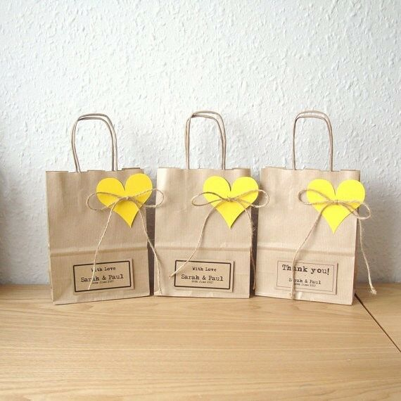 Wedding Favour Bags Small 15cm X 195cm X 8cm Personalised Brown