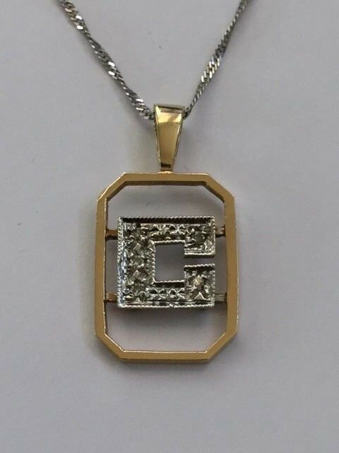 14K White and Yellow gold 5 Diamonds C Pendant with Chain 18 .-B241