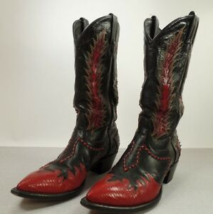 Tony Lama Vintage Cowboy Boots Black With Red Yellow