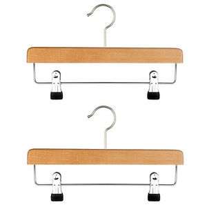 Quality-Wooden-Hanger-with-Drop-Bar-amp-Clips-5-OR-10-in-a-Pack