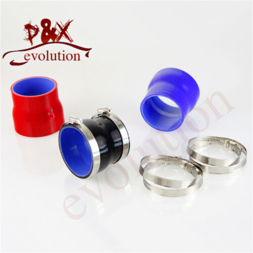 """3/"""" to 3.26/"""" Straight Reducer Silicone Turbo Hose Coupler 76-83mm+Clamps Blue"""