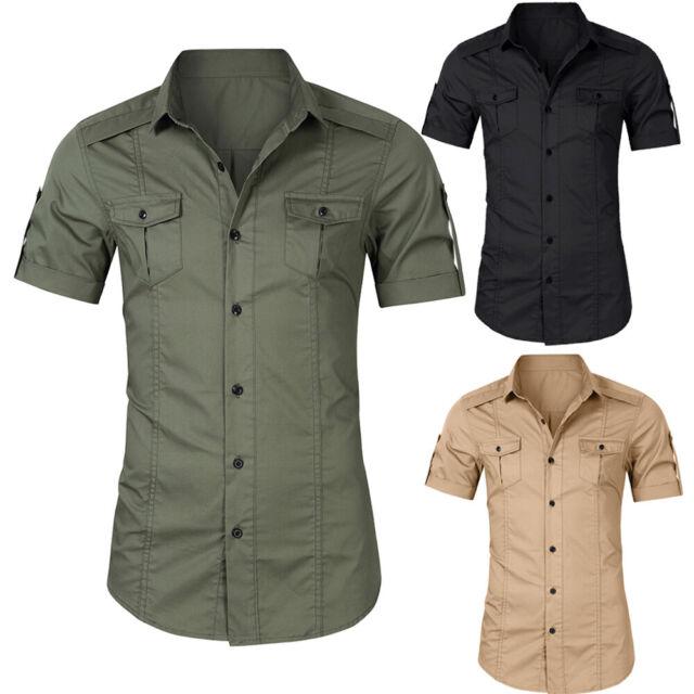 Mens Military Short Sleeve Casual Tactical Shirt Work Cargo Shirt T Shirt Tops