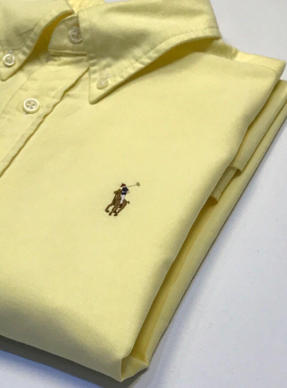 Ralph Lauren Donna Gialla Custom Fit Camicia Oxford