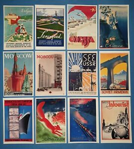Set-of-12-New-Postcards-Russia-Soviet-USSR-CCCP-Vintage-Travel-Posters-85L