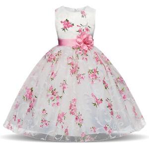 Blumenkind-Prinzessin-Kinder-Kleid-Party-Ball-Hochzeit-Maedchen-Kommunion-BC649