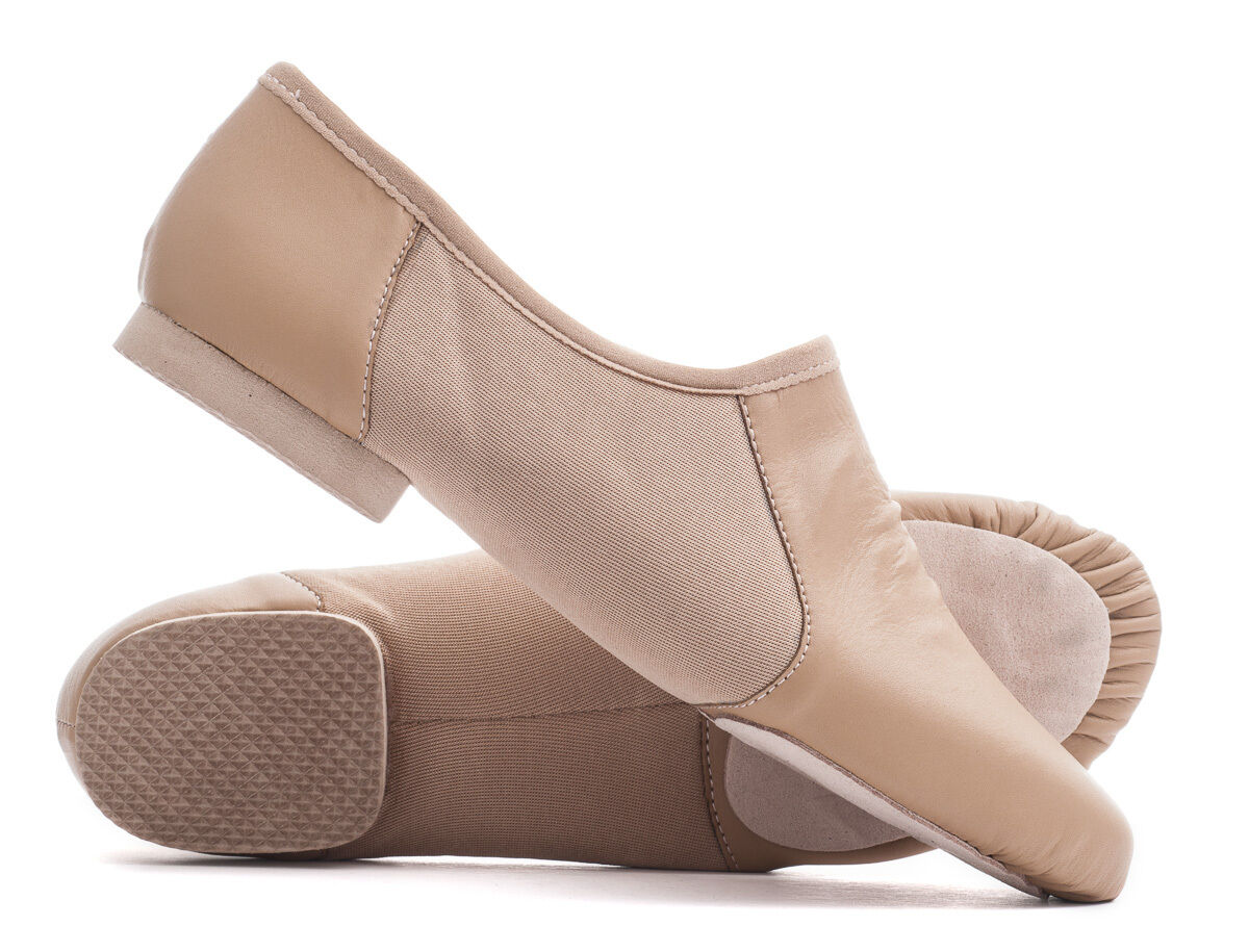 Tan Nude PU Pull On Suede Split Sole Jazz Dance Practice Shoes By Katz All Sizes