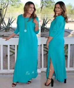 PLUS SIZE JADE SEA FOAM LOOSE FIT BOHEMIAN TALL MAXI DRESS POCKETS ...
