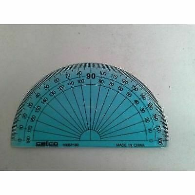 100mm 100BP180 47F002 Celco 0102428 TINTED BLUE COLOURED 180° Protractor 10cm