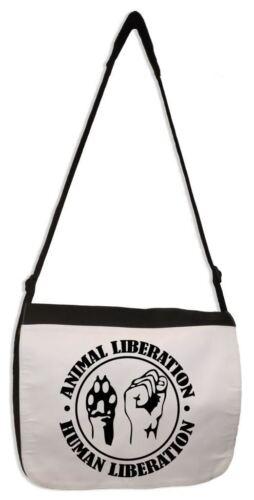 Animal Liberation Human Liberation Sac messenger-VEGETARIAN VEGAN éthique