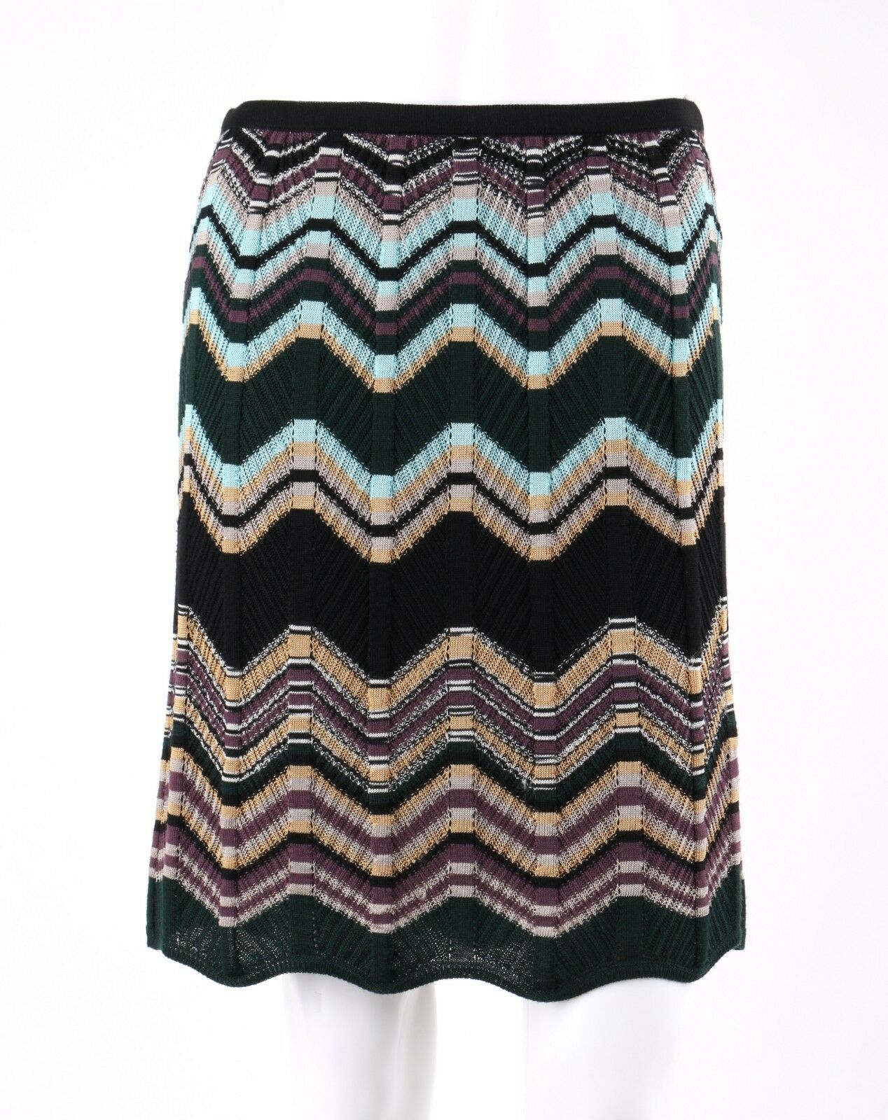 MISSONI Chevron Zig Zag Knit Scallop Hem Knee Length Stretch Skirt Size 42