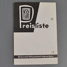 ✇ NSU FIAT Preisliste von 1959 für Weinsberg 500 Jagst Neckar