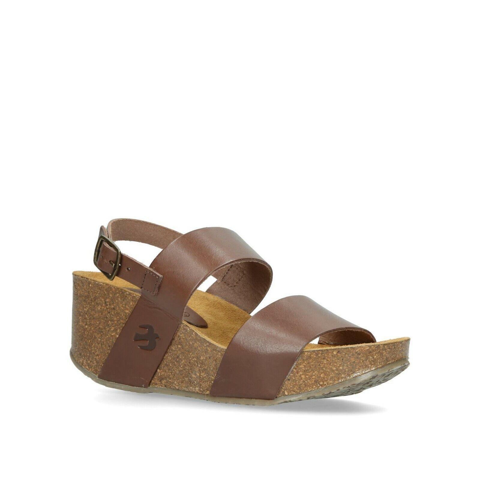 BNIB Ladies Brown Leather 2 Strap Heel Support Footbed Wedge Slide Sandals Sz 4