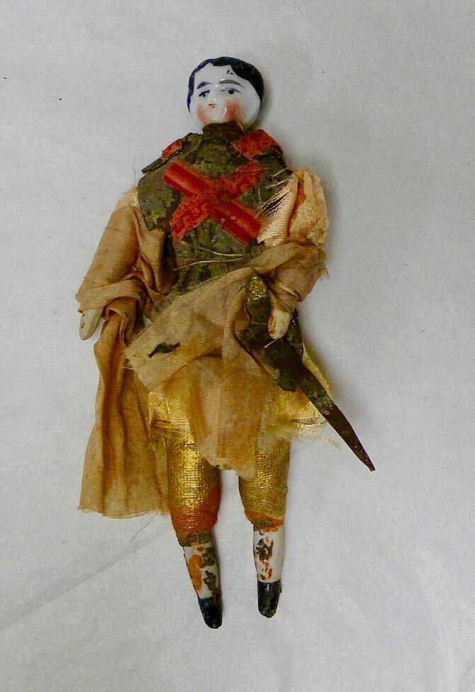 Antique Biedermeier miniature bisque dollhouse doll Knight