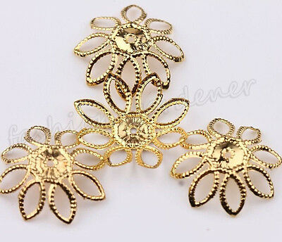 50Pcs Silver/Gold Hollow Out Filigree Metal Flower Bead Caps Finding 20mm DIY