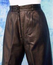 LADiES EUC ViNTAGE 80s SOFT BLACK LEATHER HiGH WAiST PLEAT FRONT PANTS 26-28/w