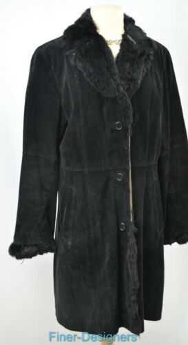 Sz Trench Knæet Leather Vtg Kanin Winter Suede Jakke Trim Utex Fur M Black Coat ZPFxwn4
