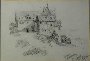 Bailey,1898 Ansicht Eines Fachwerkhaus Im Passepartout Learned Bleistiftzeichnung,g.v