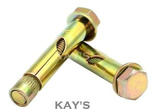 x2 Sleeve Anchors 12 mm x 70 mm bolts concrete fixings