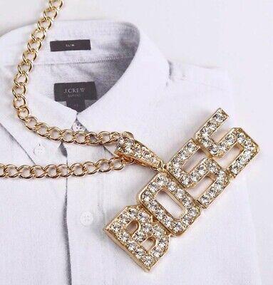 Boss Hip Hop Bling Iced Out Rhinestone Chain Pendant Gold Designer Boss Style Ebay
