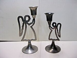 Hand Made Silverplated ANGEL CANDLESTICKS Made in India 1970/'s Modern Design Angels 7 x 2.5  and 5 x 2.5 2 International Silver Co