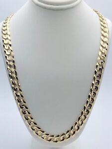 "10k Yellow Gold Solid Curb Cuban Link Chain Necklace 24"" 9.5mm 48-51 grams"