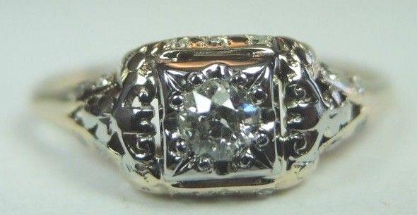 Antique Art Deco Vintage Diamond Engagement 14K Two Tone Ring Sz 7 EGL USA .27TW