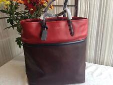 Smythson Panama North South Tote, Brown And Red with Black Trim,BNWT!