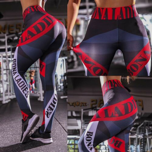 Women Print Yoga Pants Floral Leggings Butt Lift Workout Tummy Control Trousers