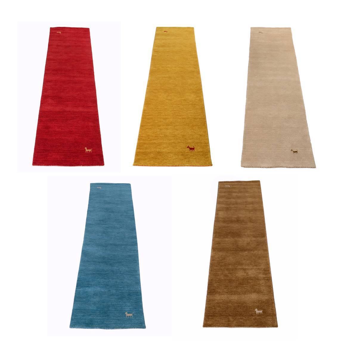 Orientteppich Läufer Gabbeh Loom, handgefertigt 100% Schurwolle 5 versch. Farben
