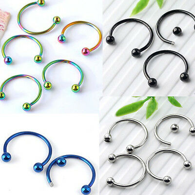 10xStainless Steel Ball Circle Nose Open Hoop Ring Earring Body Piercing Jewelry