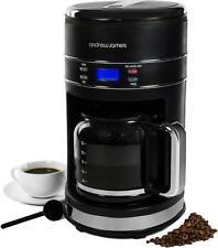 Andrew James 12 Cup 1000W Black Digital Coffee Maker Machine Reusable Filter