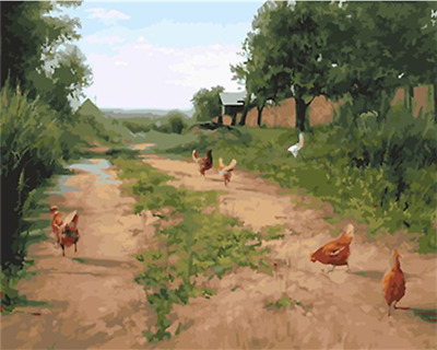 Chicken Farm DIY Paint By Numbers Number Canvas Hand Painted Painting Landscape
