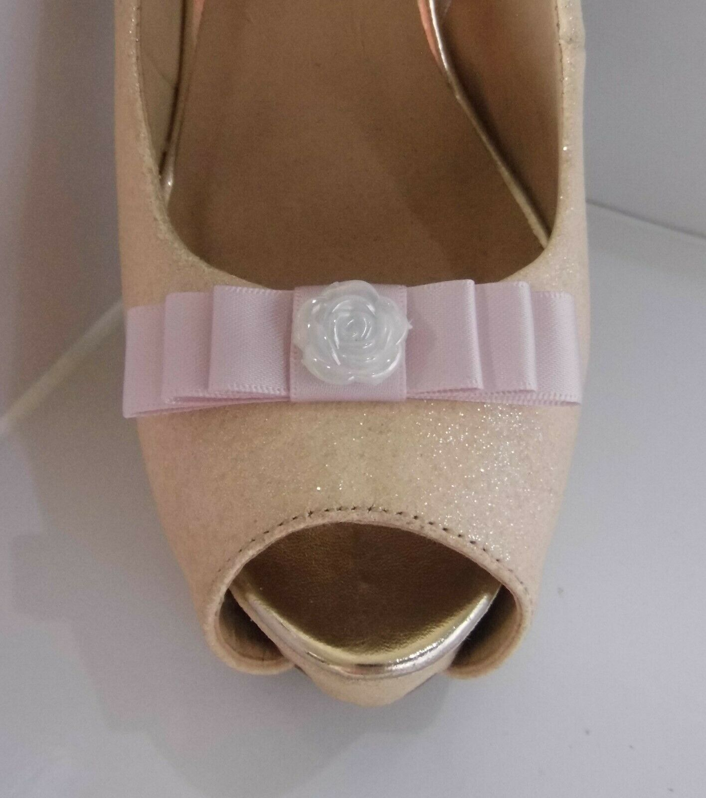 2 Small Pink Bow Clips for Shoes with Shiny Button Centre