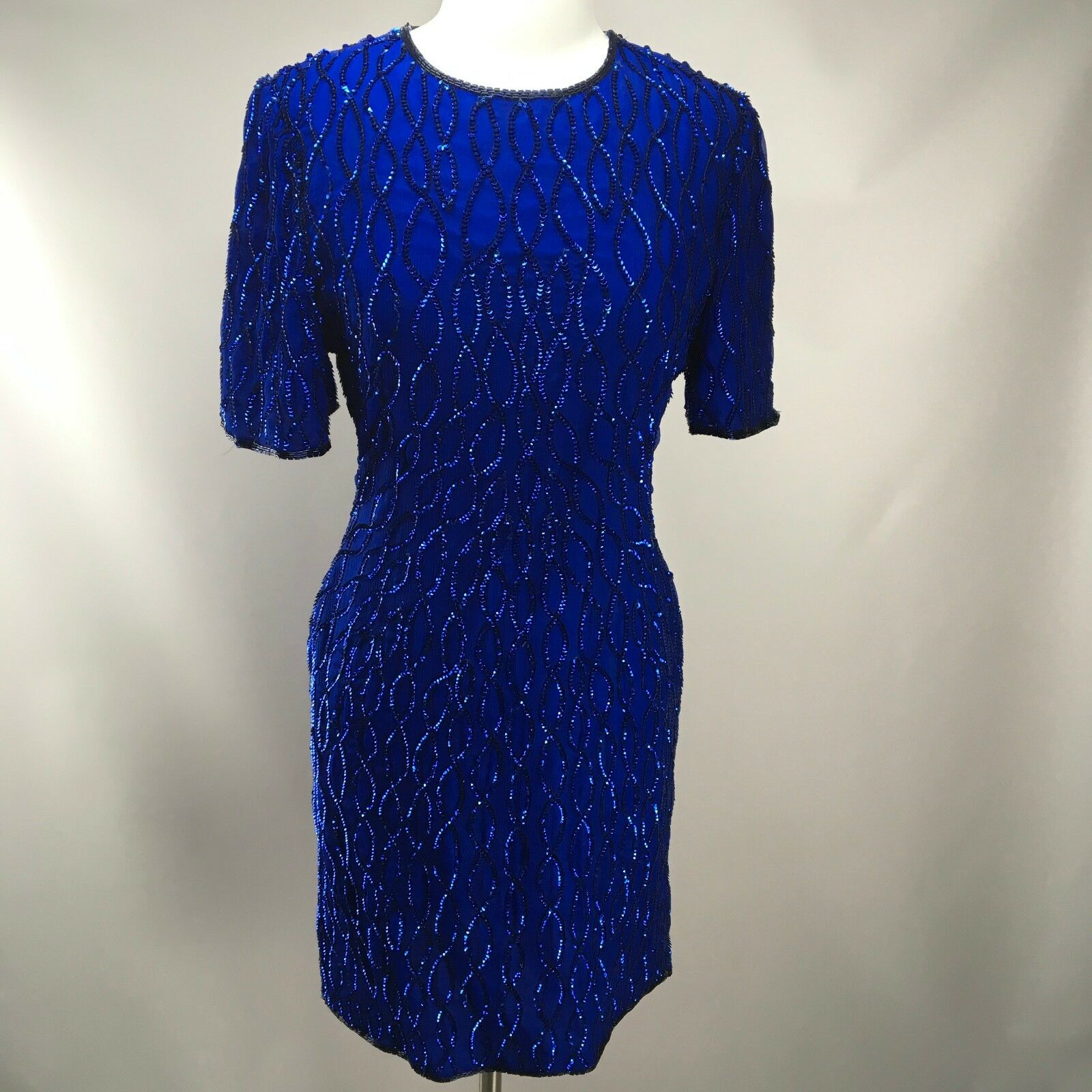 Vtg LAURENCE KAZAR Bright bluee Gatsby Party Beaded Sequin Evng Gown Dress Silk L